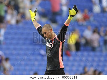 BARCELONA - AUG, 22: Pau Lopez of RCD Espanyol during a Spanish League match against Getafe CF at the Power8 stadium on August 22 2015 in Barcelona Spain