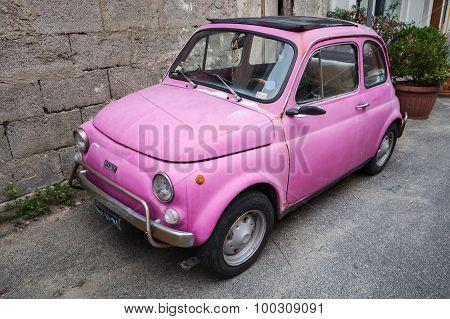 Old Pink Fiat Nuova 500 City Car