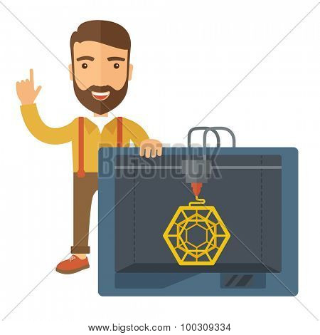Man with industrial 3D printer. A Contemporary style. Vector flat design illustration isolated white background. Square layout