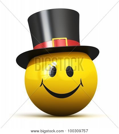 Happy yellow smiley emoticon in black hat