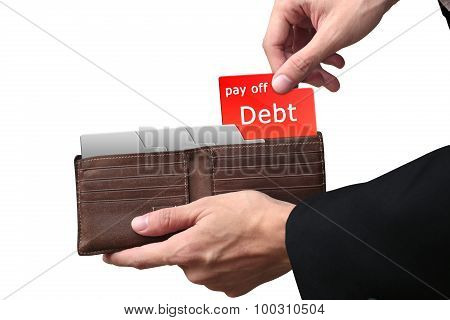 Businessman Hands Pulling Red Folder Pay Off Debt Concept On Brown Wallet.