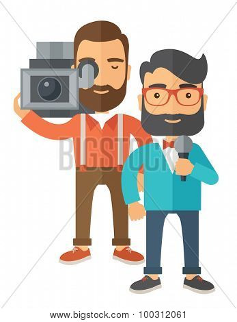 A professional caucasian journalist and news reporter with video camera and microphone broadcasting. A Contemporary style. Vector flat design illustration isolated white background. Vertical layout