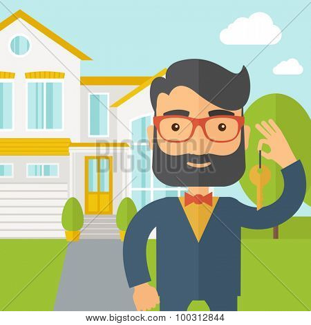 A caucasian real estate agent standing and holding a key infront of the house. A Contemporary style with pastel palette, soft blue tinted background with desaturated clouds. Vector flat design