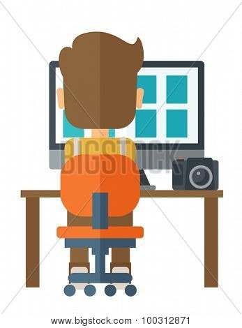 A man facing backward with laptop and camera looking the soft copy of the pictures taken. A Contemporary style. Vector flat design illustration isolated white background. Vertical layout