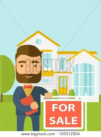 A real estate agent holding the document for the for sale house.  A Contemporary style with pastel palette, soft blue tinted background. Vector flat design illustration. Vertical layout with text