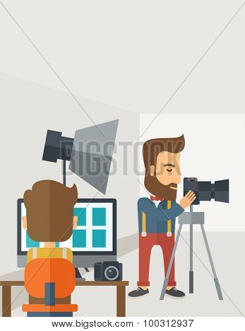 A Photography studio with a light set up and white backdrop and his companion with laptop for developing the picture. A Contemporary style with pastel palette, soft grey tinted background. Vector flat