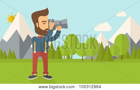 A Caucasian photographer taking a picture with the trees under the sun.  Vector flat design illustration. Horizontal layout.