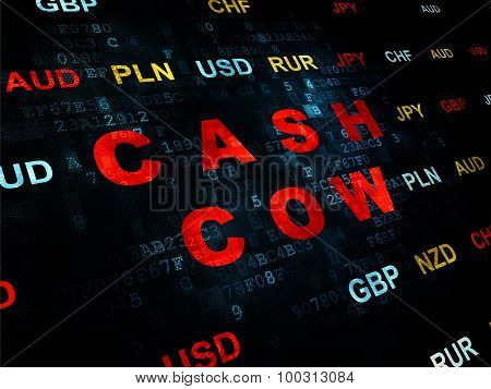 Finance concept: Cash Cow on Digital background