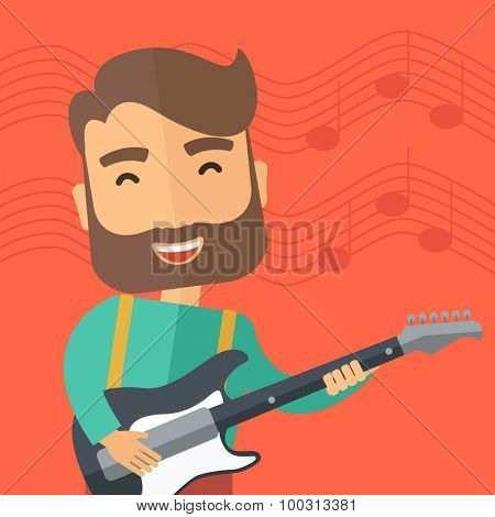 A singing musician playing electric guitar. Vector flat design illustration. Square layout.