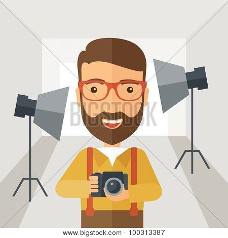 A Caucasian photographer smiling while inside the studio preparing the light and his camera to take a picture. A Contemporary style with pastel palette, soft grey tinted background. Vector flat design