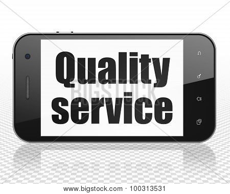 Business concept: Smartphone with Quality Service on display