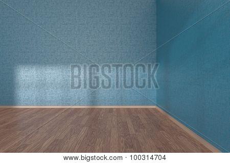 Corner Of Blue Empty Room With Parquet Floor
