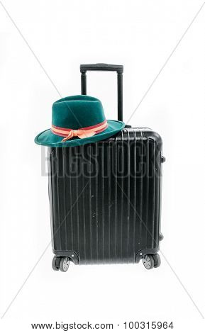 Woman hat with polycarbonate suitcase isolated