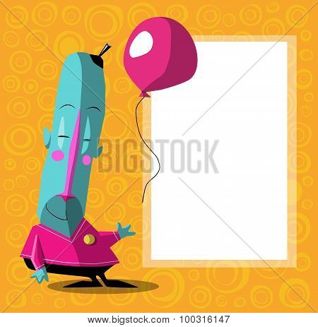 Happy Blue Cartoon Character With Balloon Over Orange