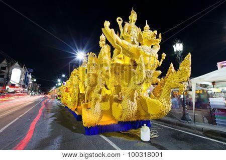 Nakhonratchasima, Naimueang District, Thailand - July 31, 2015 : Candle Wax Car Traditional Parade T