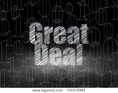 Business concept: Great Deal in grunge dark room