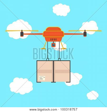 red quadrocopter with cargo in the sky