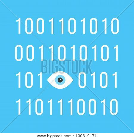 concept of big brother is watching you with binary code