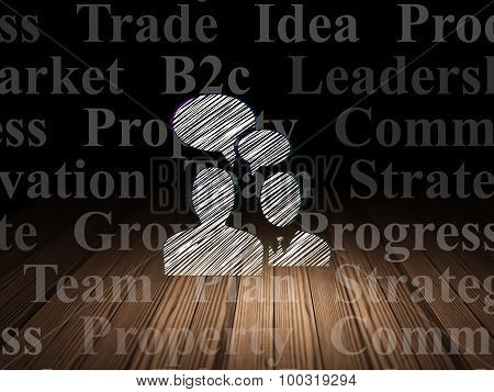 Business concept: Business Meeting in grunge dark room