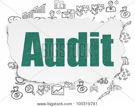 Business concept: Audit on Torn Paper background