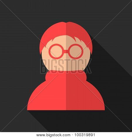 red anonymous icon with long shadow