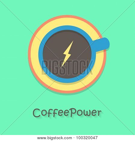 coffee power with blue cup