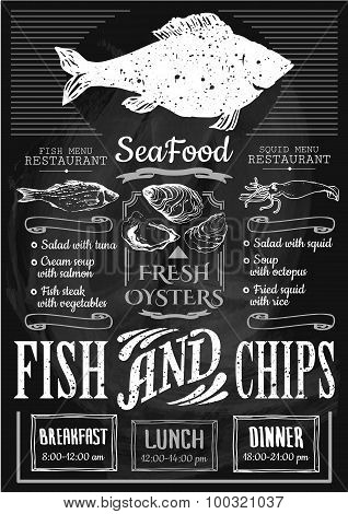 Seafood restaurant. Fish and chips poster.