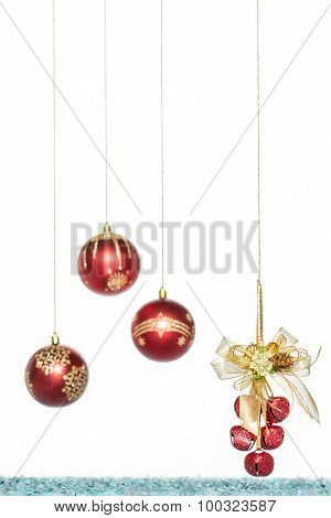 Luxury Red Christmas Ball With Jingle Bell, Hanging Decoration