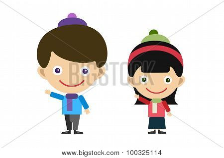 Vector cute cartoon boy and girl