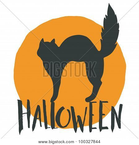 Happy Halloween Emblem With A Black Cat And Hand Lettering On Full Moon In Back.