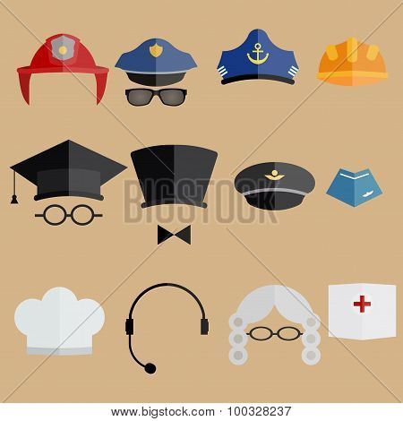 professional people hats set