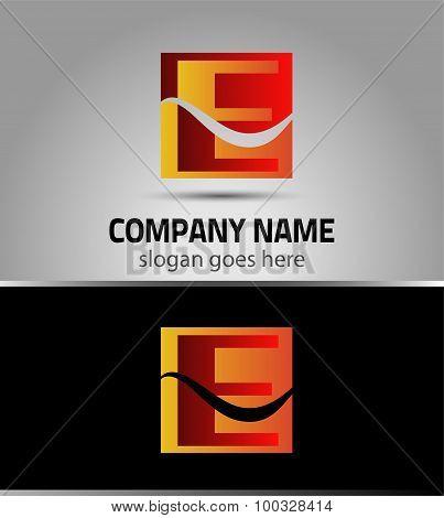Symbol icon logo for letter E