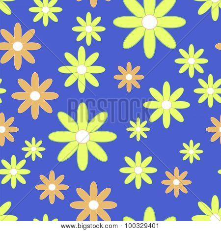 Vector Seamless Patter With Plane Flowers. Background With Yellow And Orange Simple Camomiles