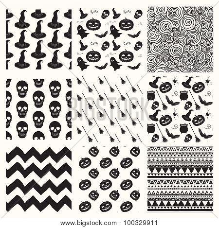 Vector Black Sketched Doodle Halloween Patterns Set