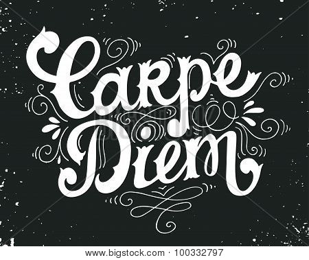 Carpe Diem. Quote. Hand Drawn Vintage Print With Hand Lettering.