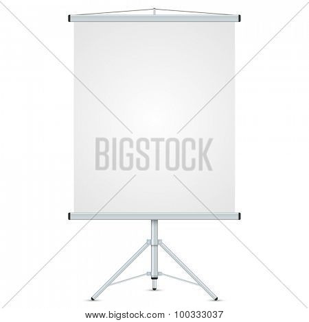 Office blank whiteboard vector template isolated on white background.