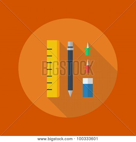 Education Flat Icon. Stationary