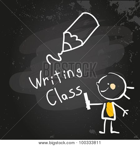 First grade writing class education, hand drawn on blackboard with chalk. Hand drawing and writing doodle style, sketchy illustration.