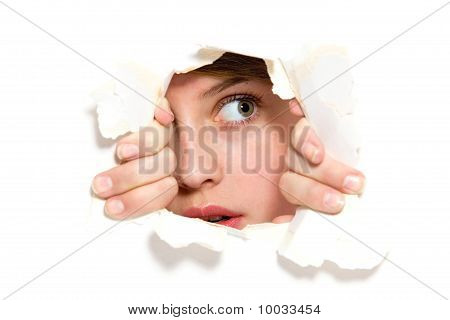 Looking through paper hole
