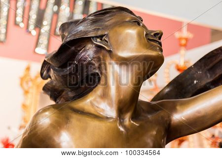 Statue Detail: Female Profile Head Close-up