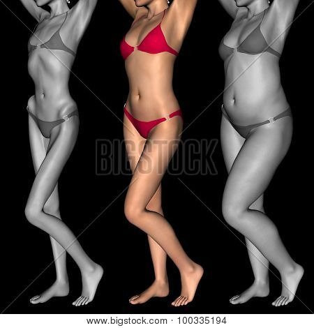 Concept or conceptual 3D woman or girl as fat, overweight vs fit healthy, skinny underweight anorexic female befor and after diet
