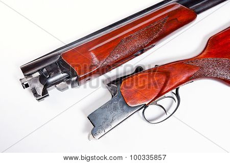 Hunting Shotgun On White Background.