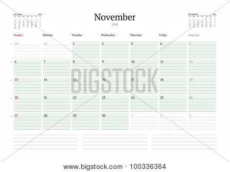 Monthly Calendar Planner 2016. Vector Design Print Template. November. Week Starts Sunday
