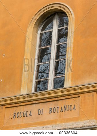 Botanical School Facade And Sign In Italian Language