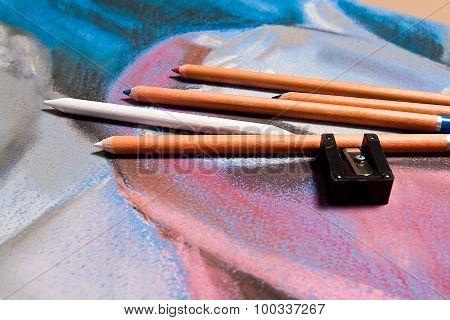 Pencils Pastel And Original Pastel Drawing Of Still Life.
