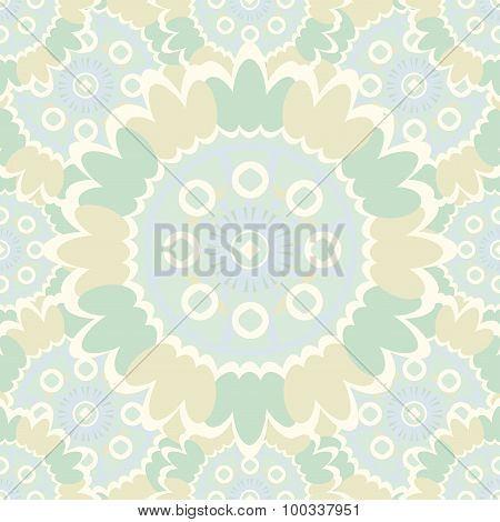 Pale Abstract Seamless Pattern With Round Ornamental Elements. Vector Soft Yellow Background.