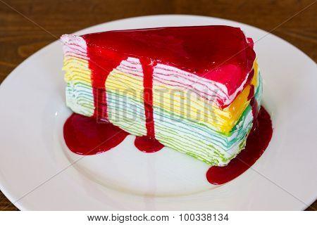 Colourful crape cake  strawberry on white dish