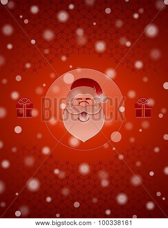 Christmas Snow Background With Santa Claus And Gifts