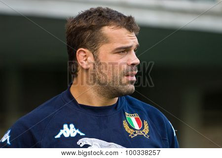 Rome, Italy - November 18 2006. Rugby Test Match Italy-argentina. Italian Player Fabio Ongaro On Pla