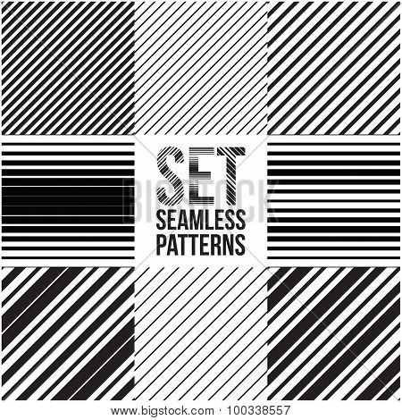 Universal different vector seamless patterns. lines ornament
